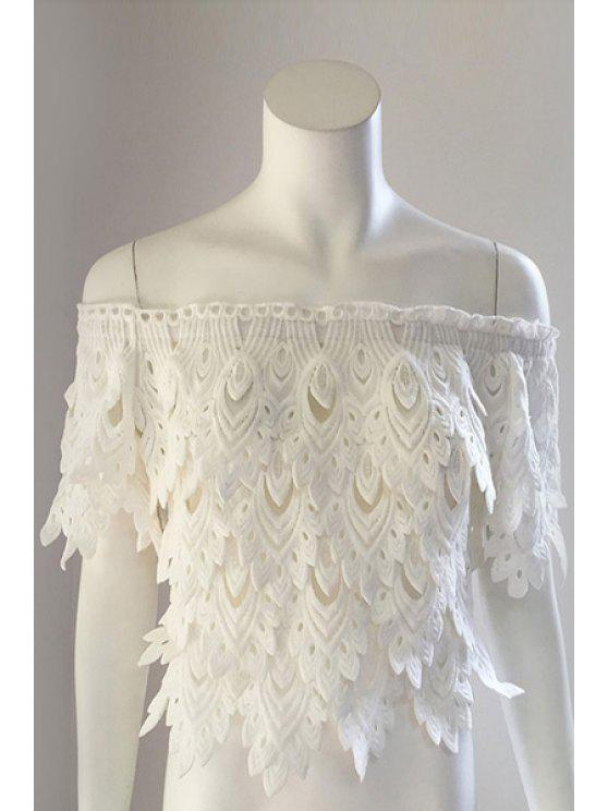 unique Slash Neck Leaves Pattern Solid Color Blouse - WHITE ONE SIZE(FIT SIZE XS TO M)