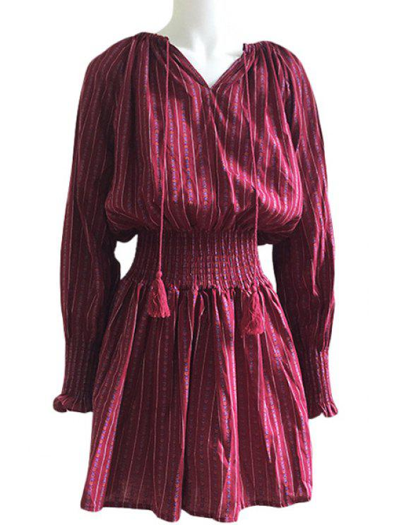trendy Printed Elastic Waist Long Sleeve Dress - RED ONE SIZE(FIT SIZE XS TO M)