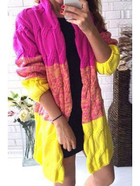 online Color Block Collarless Long Sleeves Cardigan - YELLOW ONE SIZE(FIT SIZE XS TO M)