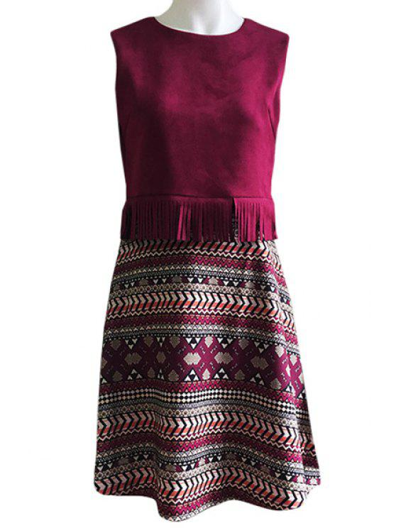 affordable Faux Suede Splicing Printed Sleeveless Dress - WINE RED M