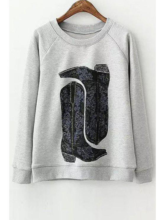 shops Boots Pattern Long Sleeve Sweatshirt - GRAY S