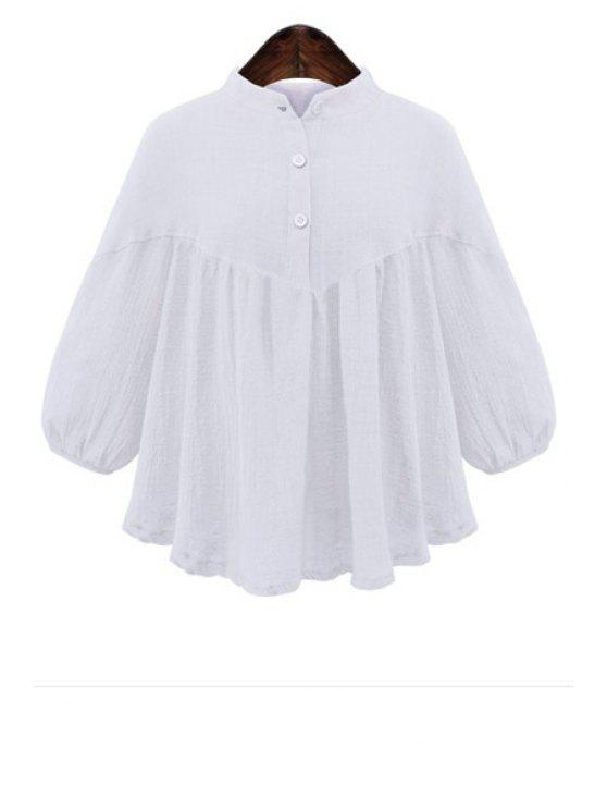 lady Stand Neck Flouncing Blouse - WHITE S