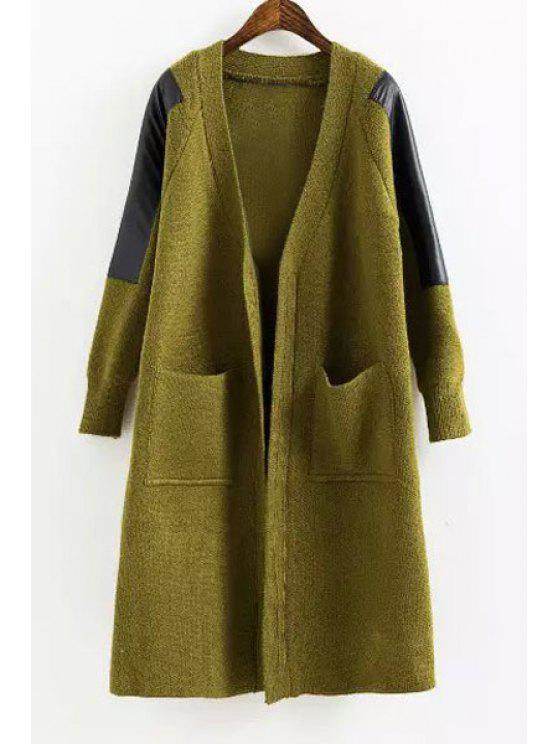 outfit PU Leather Spliced Long Sleeve Cardigan - GREEN ONE SIZE(FIT SIZE XS TO M)