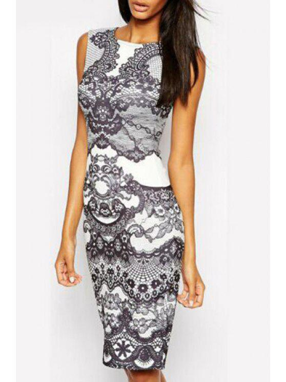 sale Sleveless Vintage Floral Bodycon Dress - WHITE AND BLACK S