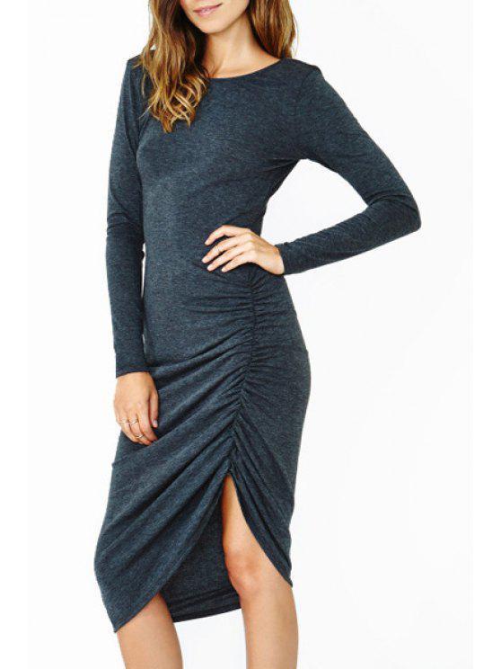 best Ruffle Backless Long Sleeve Dress - DEEP BLUE S