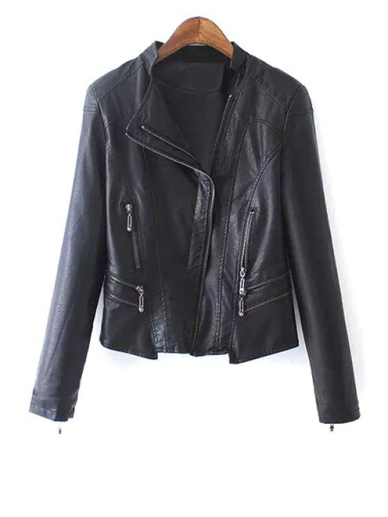 sale PU Leather Zipper Stand Collar Jacket - BLACK M