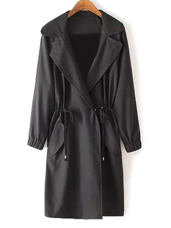 lady Pure Color Lapel Long Sleeve Drawstring Coat - BLACK S