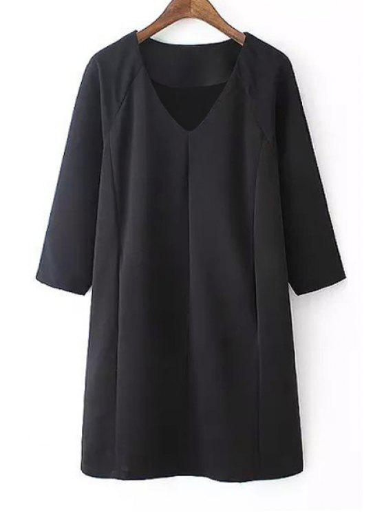 online Black V Neck 3/4 Sleeve Dress - BLACK S