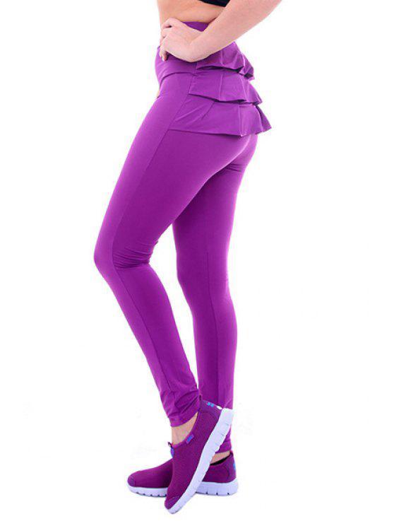 best Candy-Colored Flouncing Pencil Pants - PURPLE S