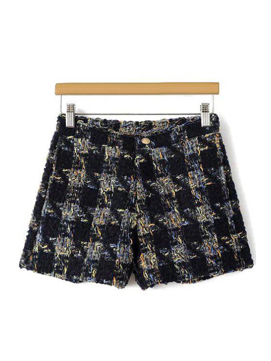 Pantalones cortos de patrón Houndstooth - Negro L