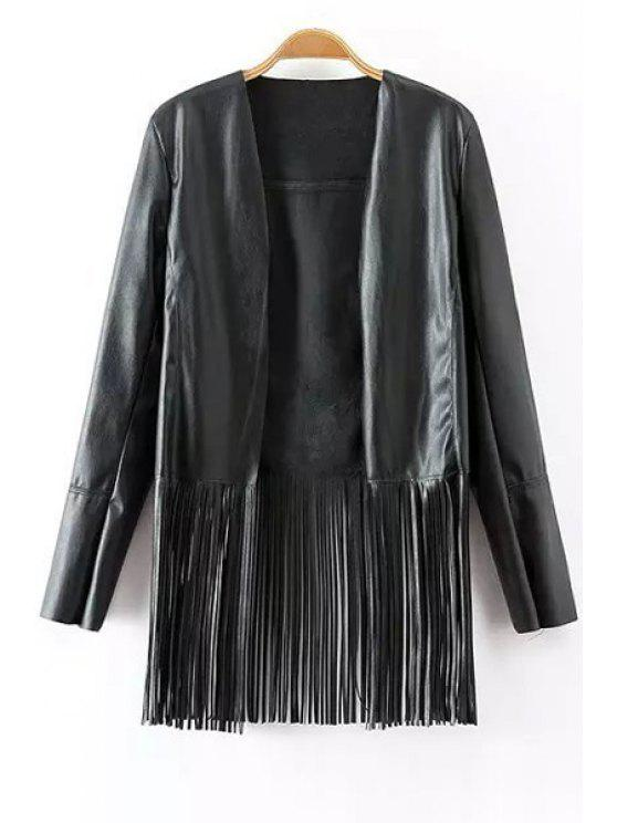 online Black Collarless Long Sleeves Faux Leather Jacket - BLACK S