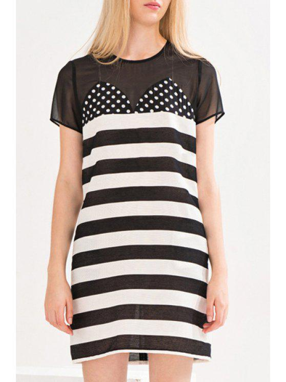 shops See-Through Voile Splicing Short Sleeve Dress - WHITE AND BLACK S