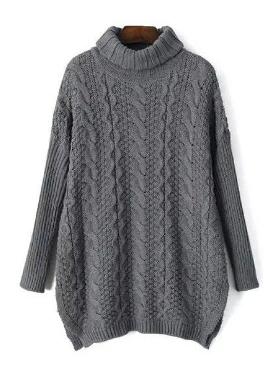 outfit Turtle Neck Cable Knit Sweater - GRAY ONE SIZE(FIT SIZE XS TO M)