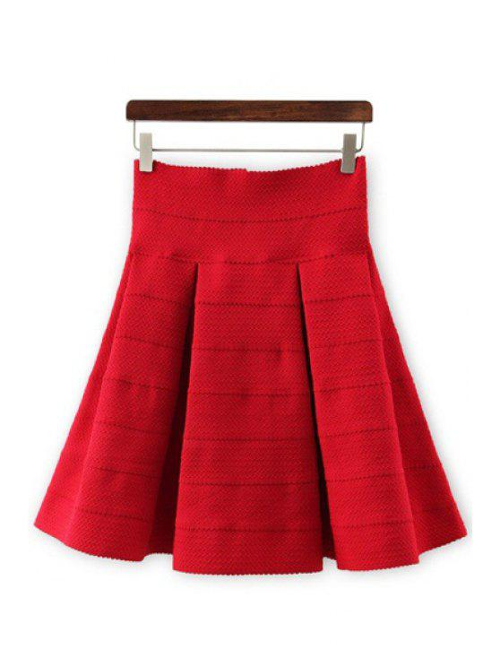 fashion High-Waisted Ruffled Knitted Skirt - RED S
