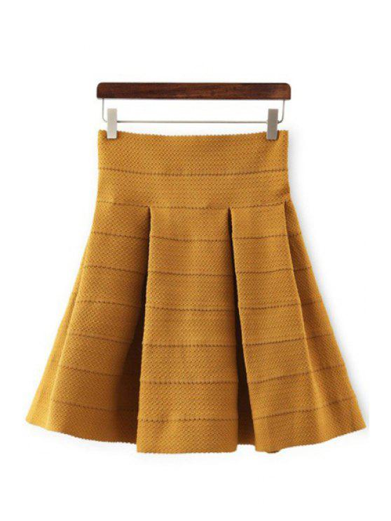 womens High-Waisted Ruffled Knitted Skirt - GINGER M