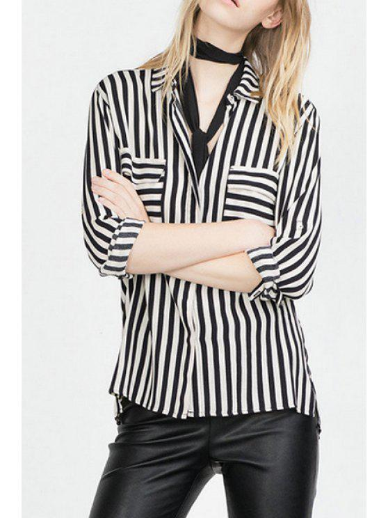 hot Striped Turn Down Collar Long Sleeve Shirt - WHITE AND BLACK S