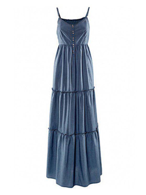 shop Spaghetti Strap Solid Color Ruffles Sleeveless Dress - BLUE S