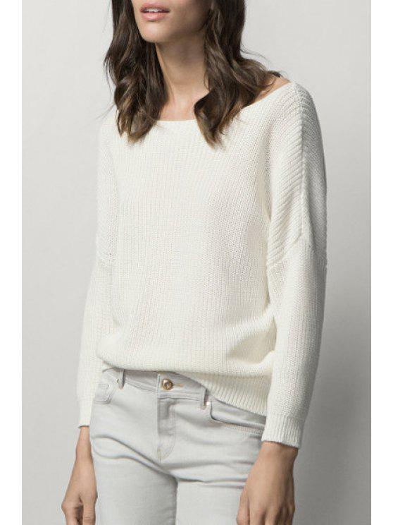 latest Boat Neck Solid Color Jumper - WHITE M