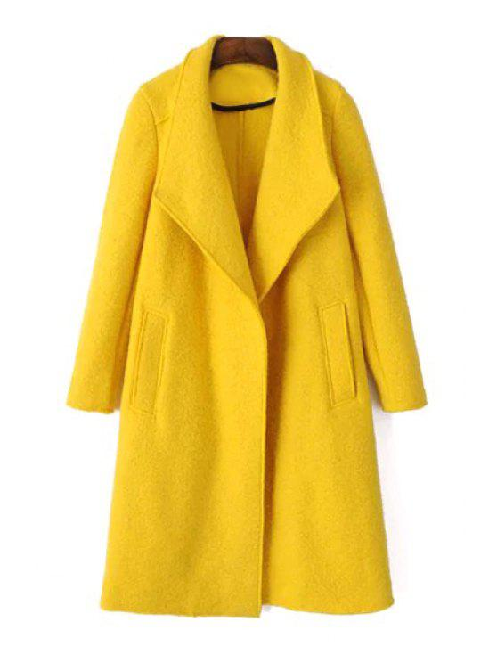 chic Yellow Turn Down Collar Long Sleeve Coat - YELLOW XS