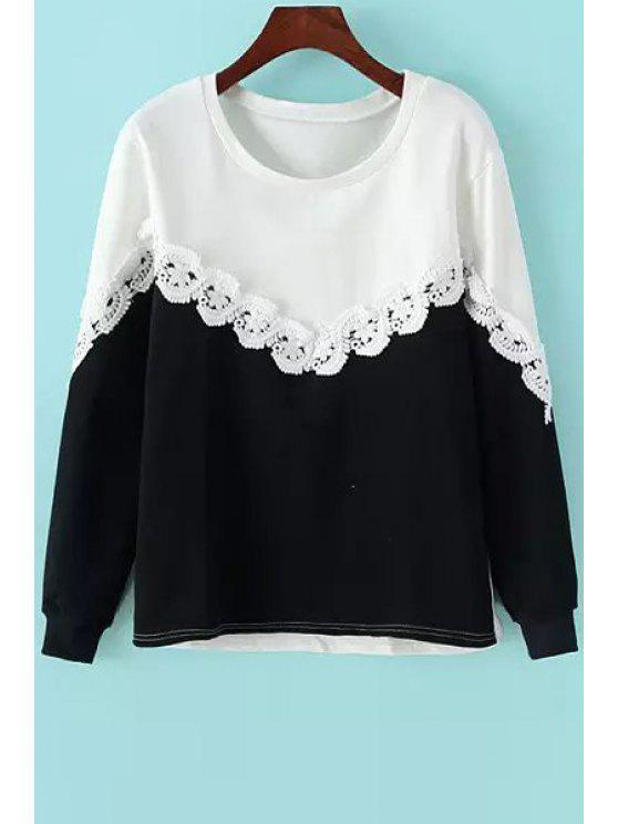 womens Color Block Lace Spliced Sweatshirt - BLACK ONE SIZE(FIT SIZE XS TO M)