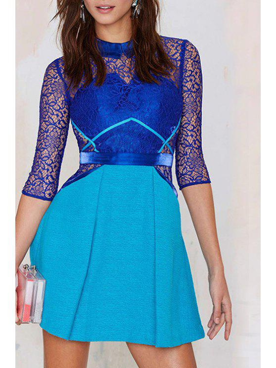 best Lace Splicing See-Through Half Sleeve Dress - BLUE M