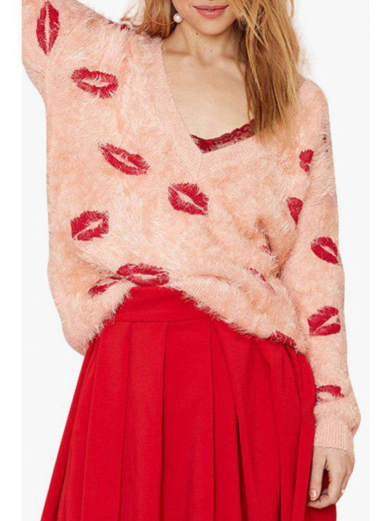 shops Plunging Neck Red Lips Pattern Long Sleeve Sweater - PINK L