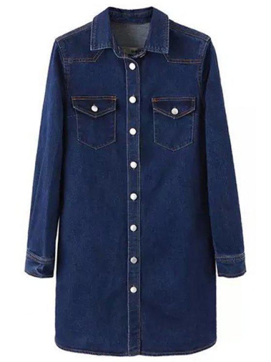 sale Single-Breasted Long Sleeve Denim Dress - PURPLISH BLUE XS