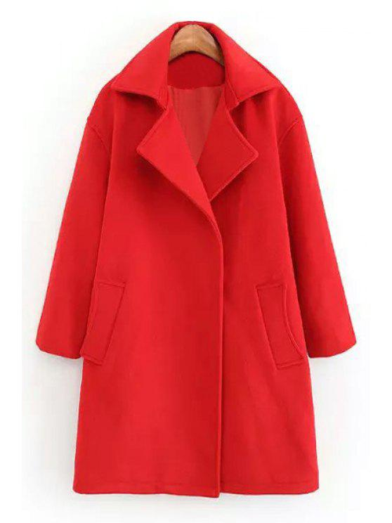 affordable Red Lapel Neck Long Sleeve Coat - RED S