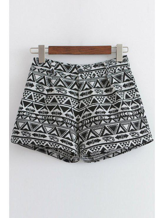 online Wide Leg Geometric Pattern Shorts - BLACK AND GREY S