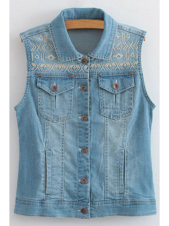shops Ethnic Embroidery Turn Down Collar Waistcoat - BLUE M