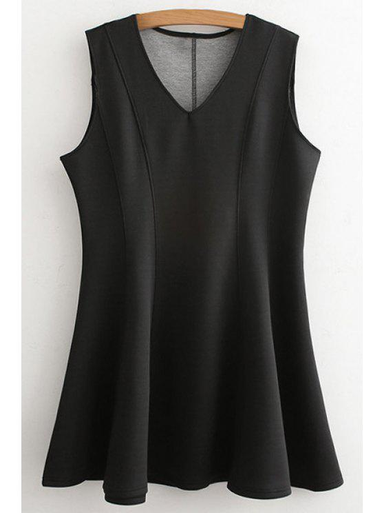 womens Black V Neck Sleeveless A Line Dress - BLACK ONE SIZE(FIT SIZE XS TO M)
