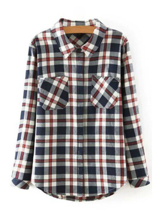 shops Long Sleeve Plaid Shirt - COLORMIX S