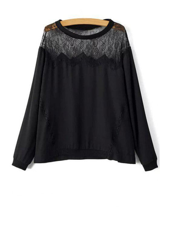 fancy See-Through Lace Spliced T-Shirt - BLACK S