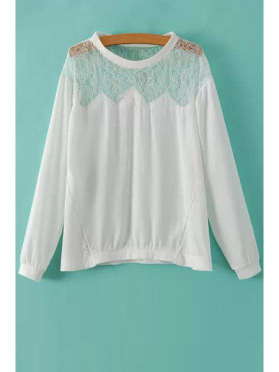 See Through Lace Spliced T Shirt White Tees S Zaful