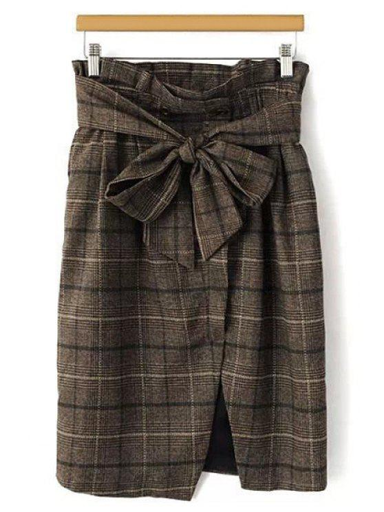 unique Plaid Bowknot Midi Skirt - KHAKI L