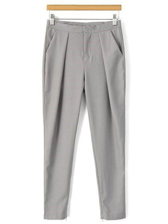 ladies Solid Color Narrow Feet Ninth Pants - GRAY S