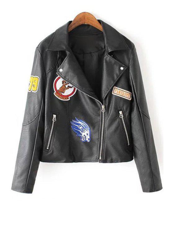ladies Zip Pocket Appliqued Faux Leather Jacket - BLACK S