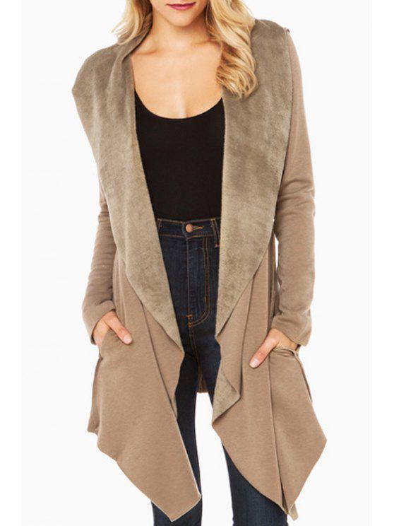 hot Shawl Collar Fleece Lining Irregular Coat - KHAKI XS