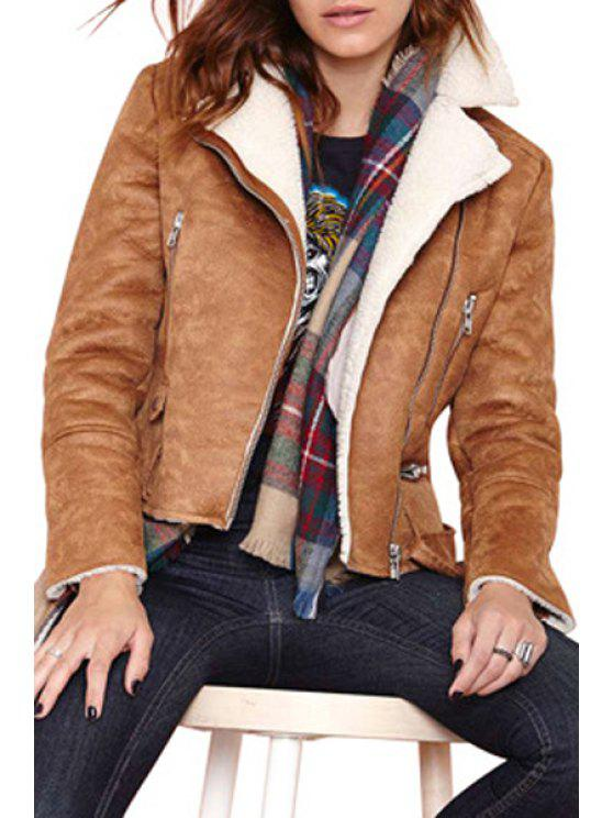 hot Funnel Collar Fleece Lining Suede Jacket - BROWN XS