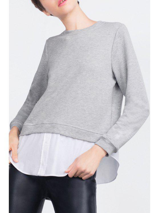 affordable Spliced Round Collar Long Sleeves Sweatshirt - GRAY S