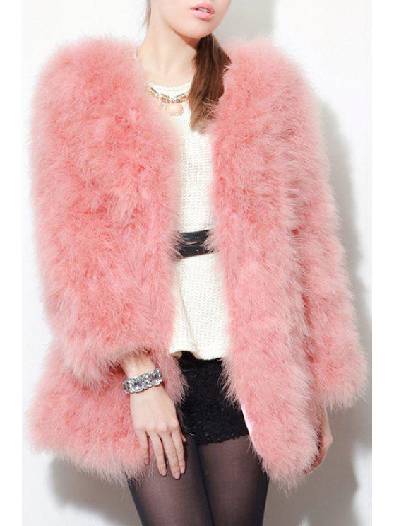 chic Open Front Pink Faux Fur Coat - PINK 2XL