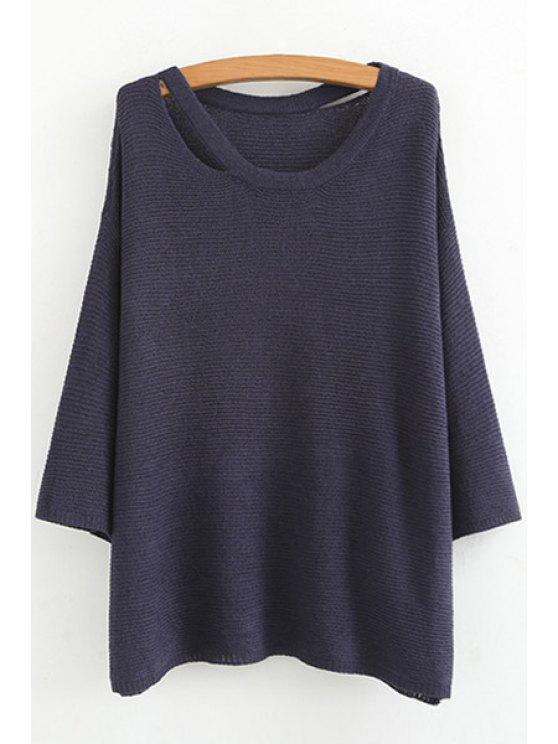 outfit Deep Blue Scoop Neck Long Sleeve Jumper - BLUE M