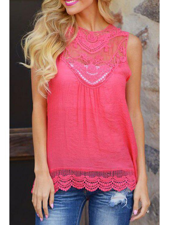 unique Lace Spliced Openwork Tank Top - ROSE S