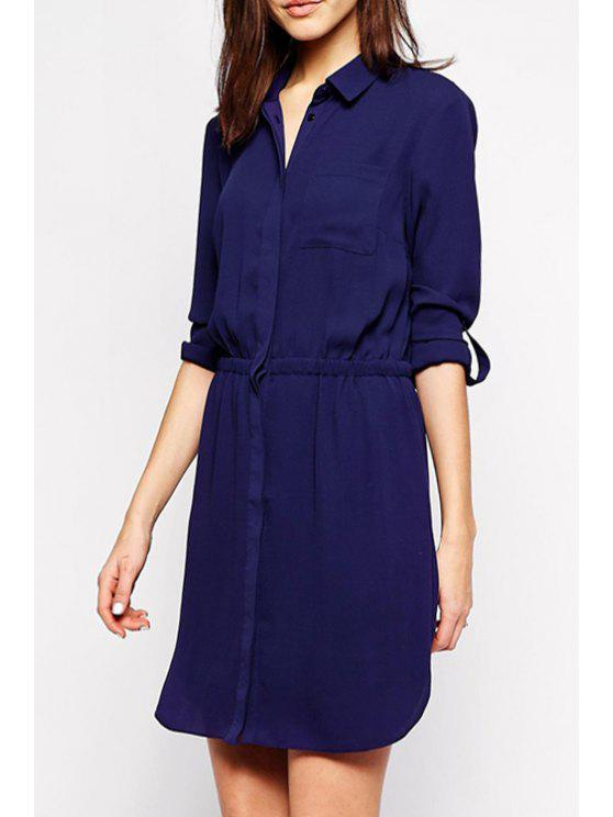 new Shirt Collar Elastic Waist Blue Dress - DEEP BLUE M
