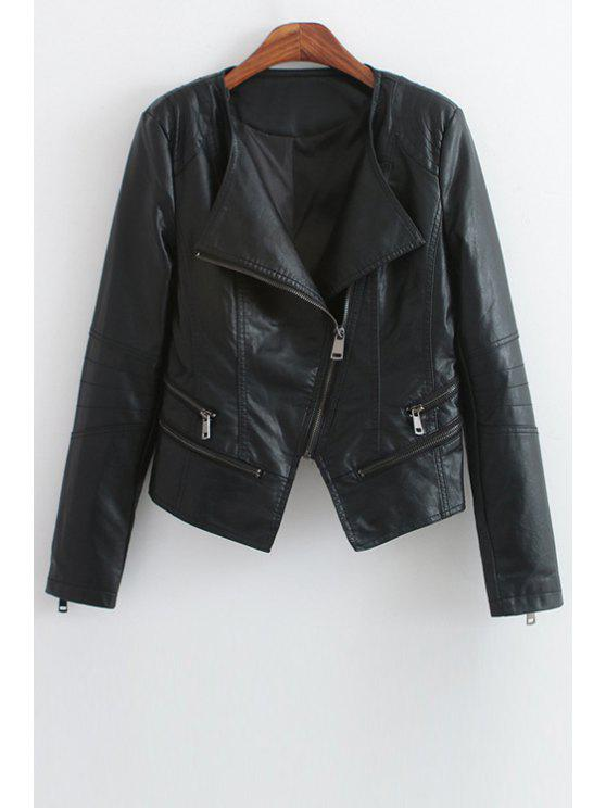 new Faux Leather Black Turn Down Collar Jacket - BLACK S