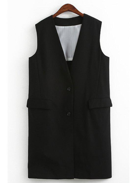 trendy Black Plunging Neck Sleeveless Waistcoat - BLACK ONE SIZE(FIT SIZE XS TO M)