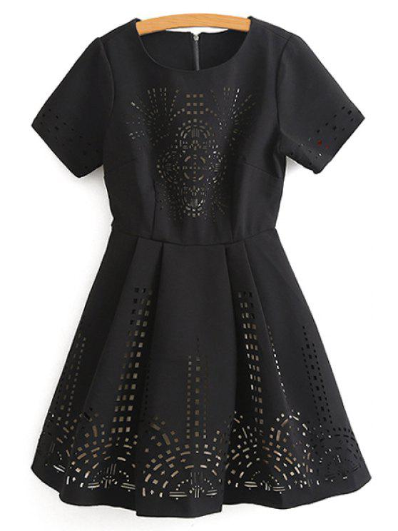 outfit Hollow Out Short Sleeve Flare Dress - BLACK S