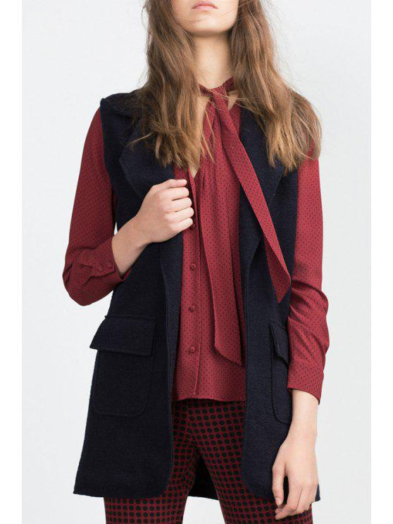 trendy Solid Color Lapel Collar Thicken Waistcoat - PURPLISH BLUE M