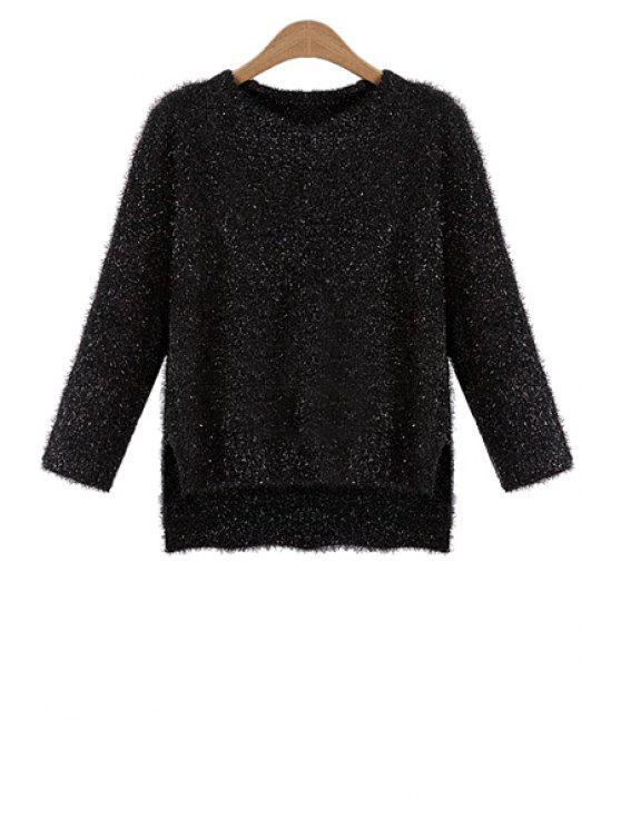unique Long Sleeve High Low Jumper - BLACK ONE SIZE(FIT SIZE XS TO M)
