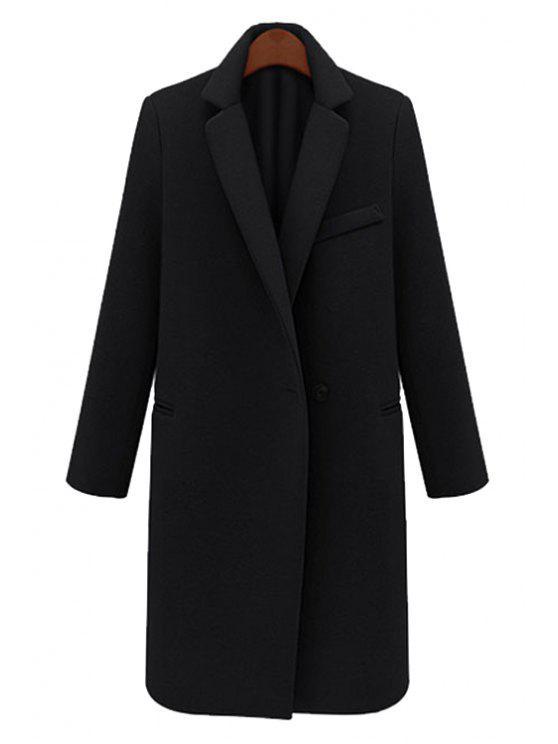 new Lapel Solid Color Wool Coat - BLACK S
